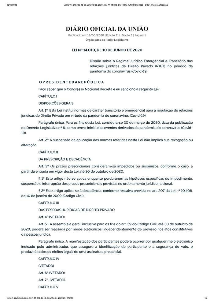 PL 1179/2020 sofre vetos do Presidente Jair Bolsonaro nas questões relacionadas a condomínios