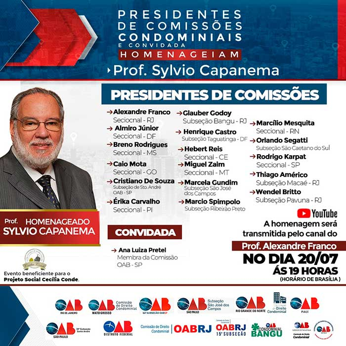 Advogados de todo o Brasil se unem para homenagear o Prof.º Sylvio Capanema