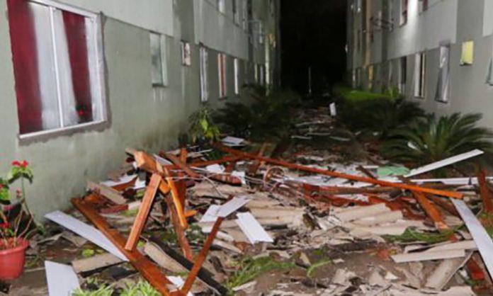 Veja o momento em que o ciclone atinge condomínio em Curitiba.