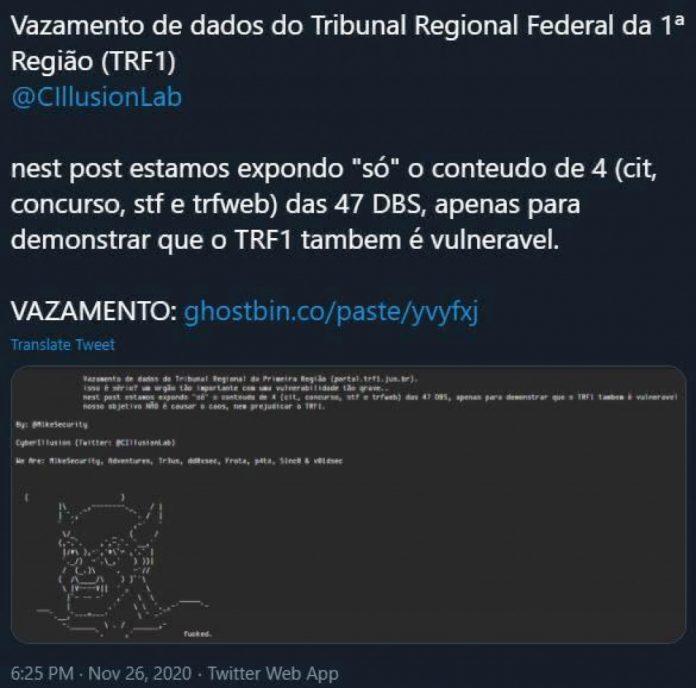 Hackers atacam o TRF-1 e site da Justiça Federal em Mato Grosso fica fora do ar